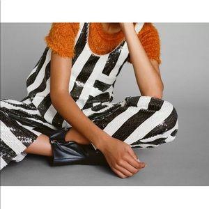 Zara Pants - ❤️ZARA SEQUINNED TROUSERS STRIPED MID RISE